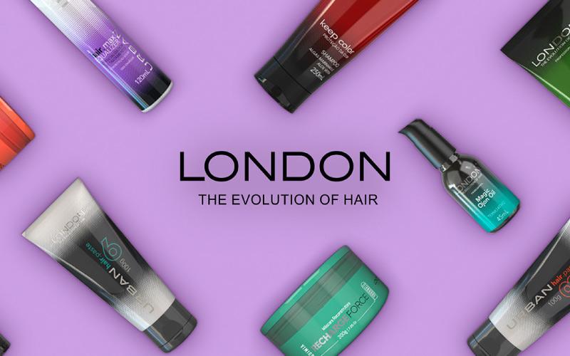 Imagem com um fundo roxo e vários produtos coloridos espalhados pela imagem. No meio há o logo da London cosméticos e a frase 'The evolution of hair'.