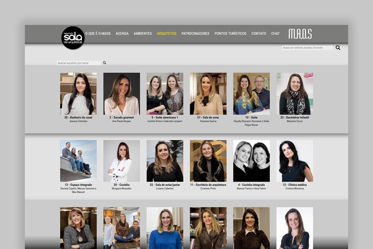 """Tour 360º: mostra virtual de arquitetura: a imagem mostra a página """"arquitetos"""" do site, na qual há fotos de diversos arquitetos que fazem parte."""